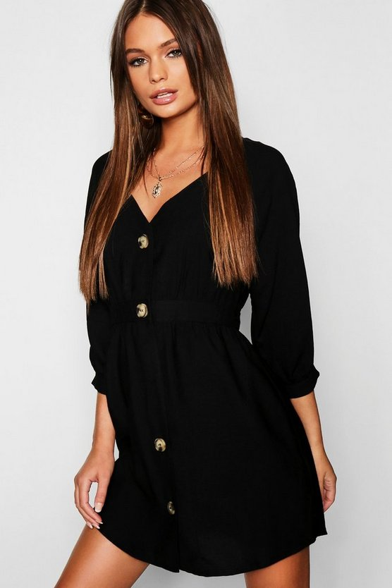 Womens Black Button Front Linen Look Smock Dress