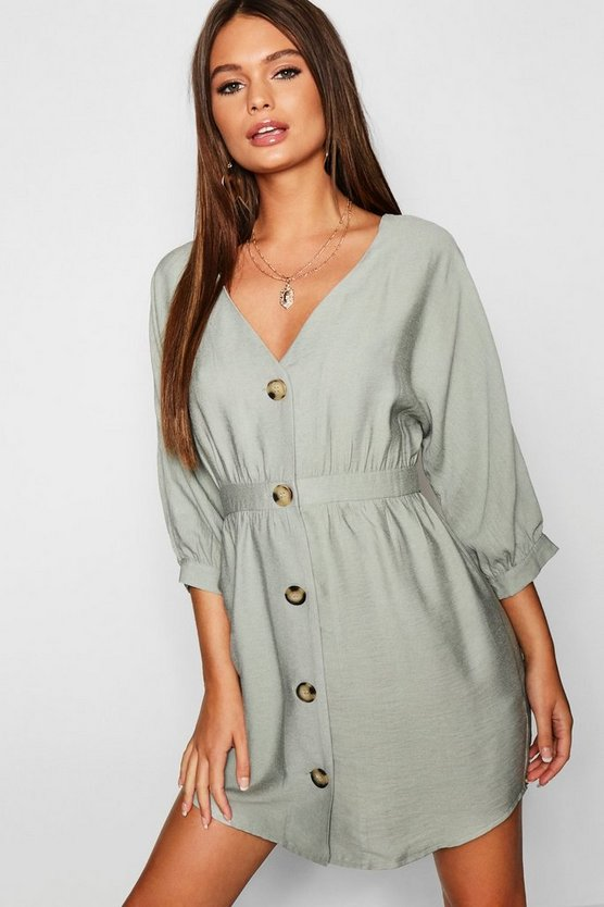 Button Front Linen Look Smock Dress