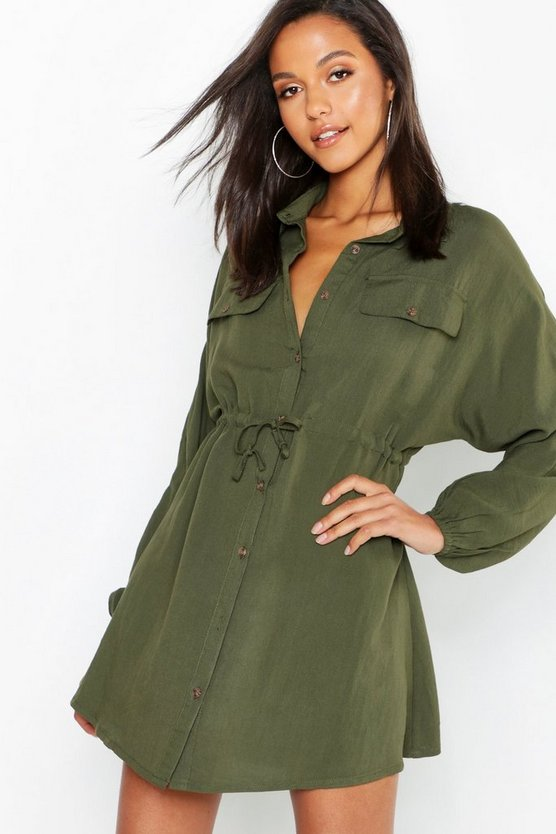 Linen Look Horn Button Utility Shirt Dress
