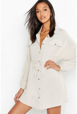 Womens Stone Linen Look Horn Button Utility Shirt Dress