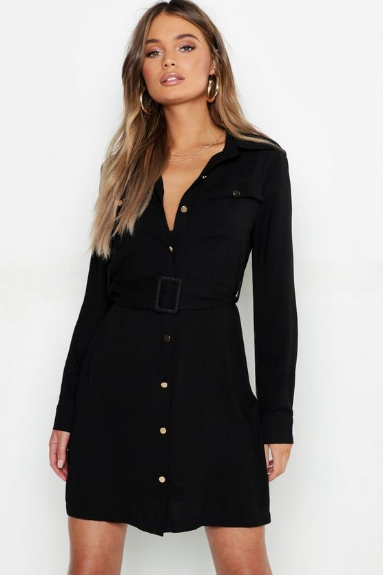 Womens Black Utility Button Front Belted Shirt Dress