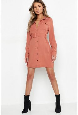 Womens Spice Utility Button Front Belted Shirt Dress
