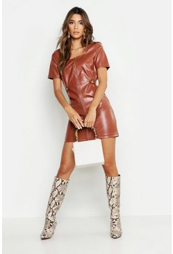 Womens Chocolate Zip Front Leather Look Mini Dress