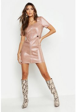 Womens Sand Zip Front Leather Look Mini Dress