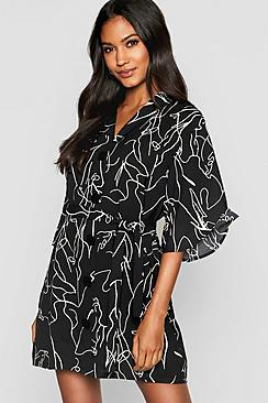 Oversized Scribble Button Front Shirt Dress