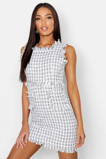 Womens Ivory Tweed Frayed Edge Mini Pinafore Dress