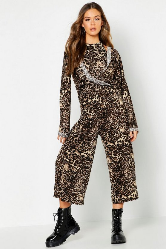 Womens Stone Animal Print Brushed Knit 3 Piece Culotte Co-Ord