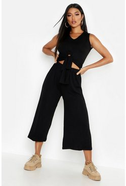 Womens Black Brushed Knit Tie Front Top + Culotte Co-Ord