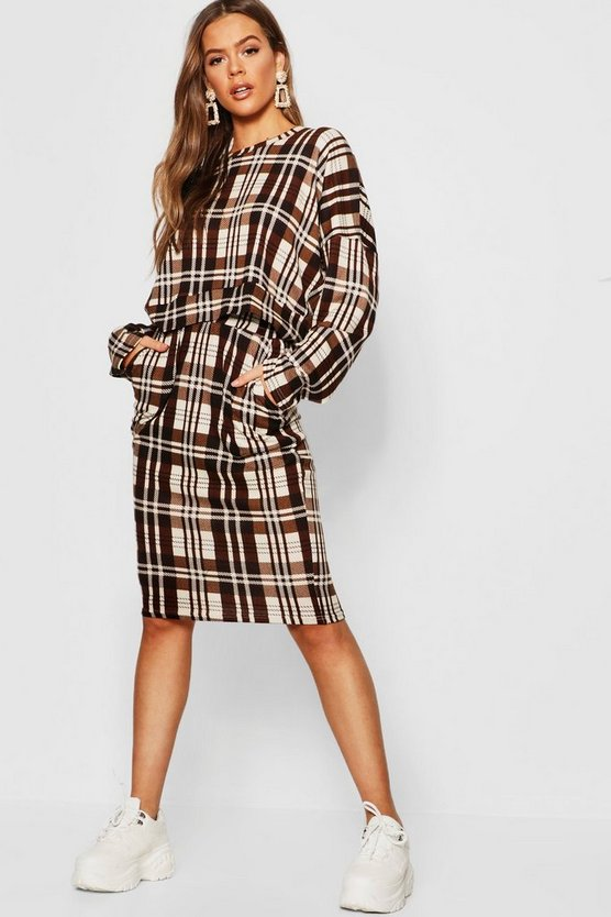 Womens Brown Checked Oversized Brushed Knit Sweat T-Shirt Co-Ord