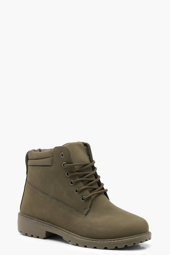 Womens Khaki Lace Up Hiker Boots