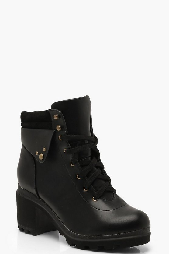 Padded Cuff Lace Up Chunky Hiker Boots