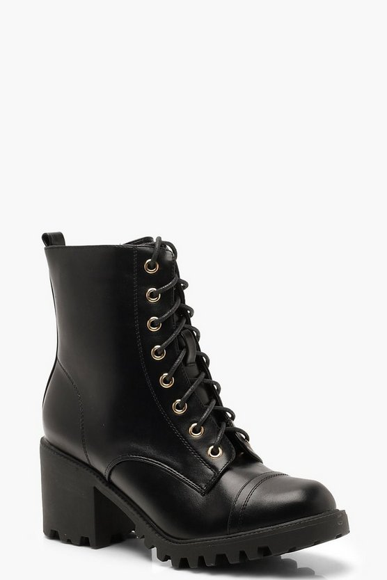 Black Chunky Heel Lace Up Hiker Boots