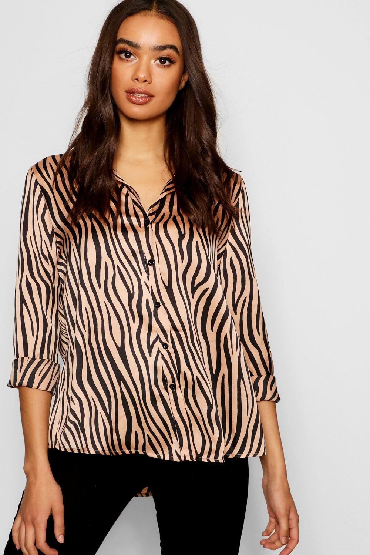 2c1f41ff Womens Champagne Satin Zebra Print Shirt. Hover to zoom