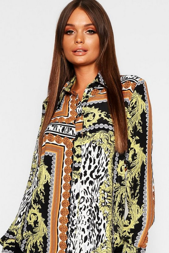 Womens Black Coin Chain Print Oversized Shirt