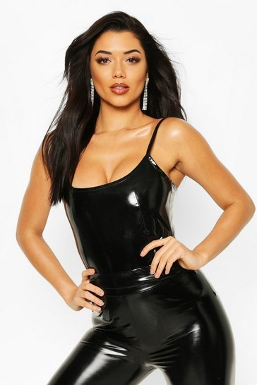 Womens Black High Shine Leather Look Strappy Bodysuit