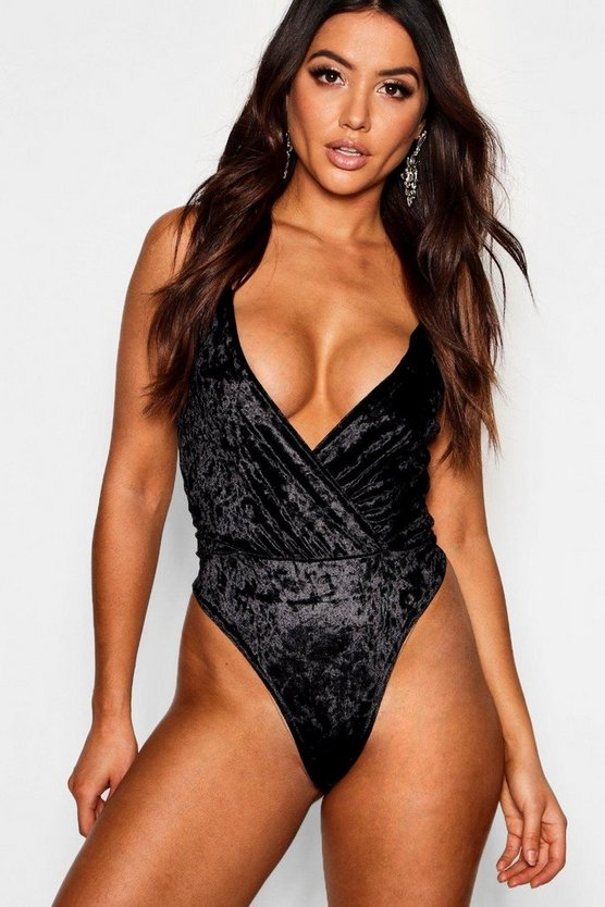 Crushed Velvet Wrap Front Strappy Bodysuit