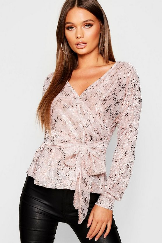 Metallic Bell Sleeve Wrap Over Top
