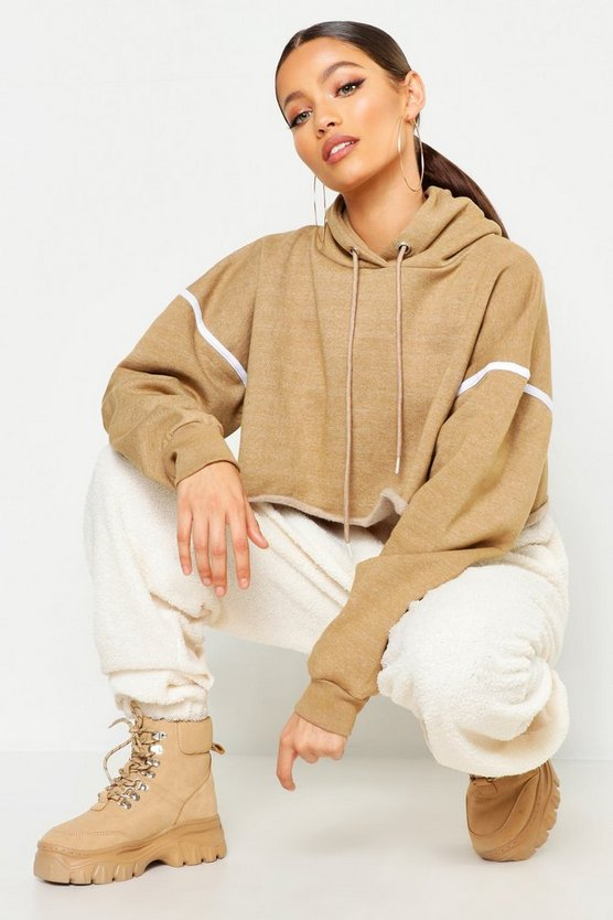 Womens Taupe Crop Sweat Side Tape Hoody