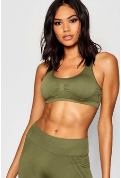 Womens Khaki Fit Seamfree Yoga Bra