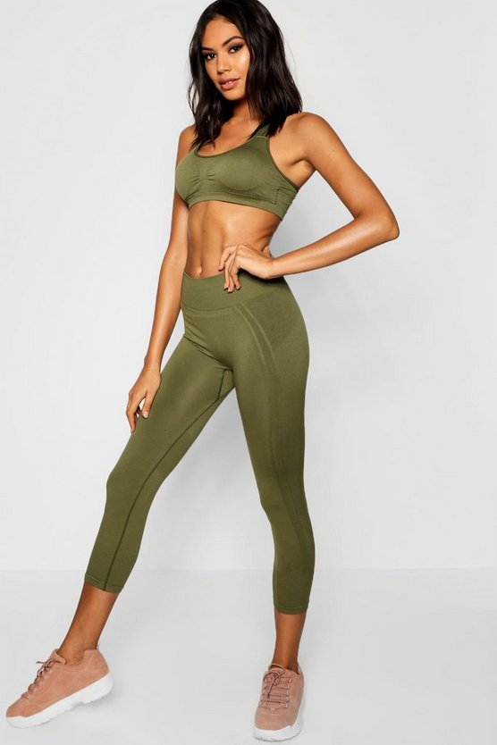 Womens Khaki Fit Seamfree Legging