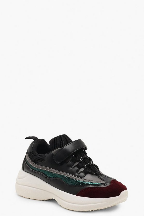 Womens Black Strap Detail Chunky Sole Sneakers