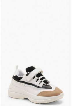 Womens White Strap Detail Chunky Sole Trainers