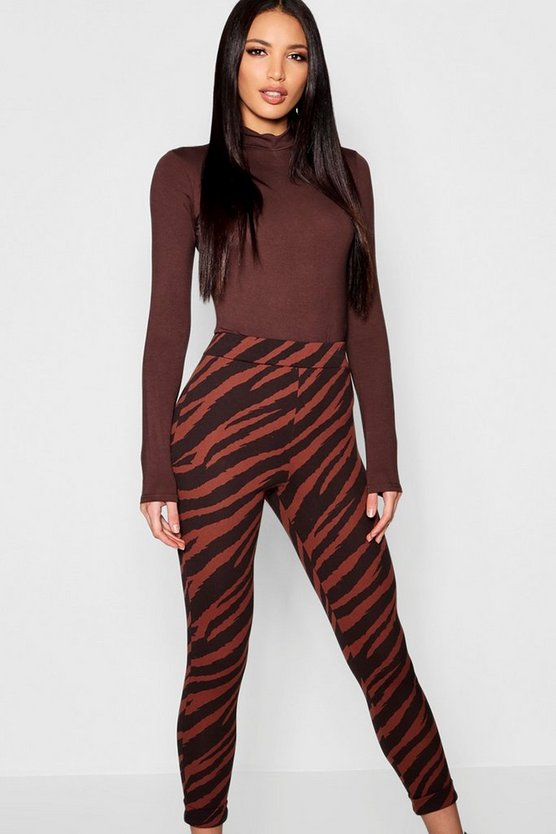 Womens Chocolate Zebra Print Skinny Trousers