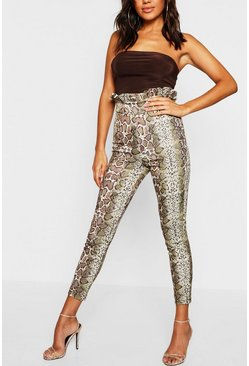 Womens Stone High Waisted Snake Print Paperbag Skinny Pants