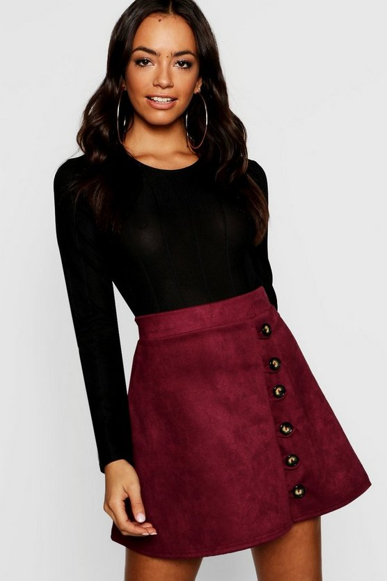 Womens Berry Button Front Suedette A Line Mini Skirt