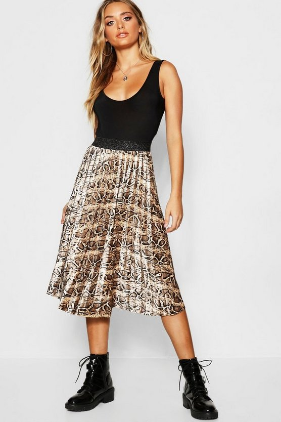 Pleated Velvet Snake Print Midi Skirt