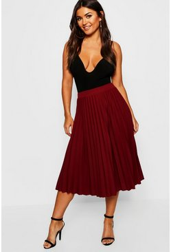 Womens Berry Pleated Midi Skirt
