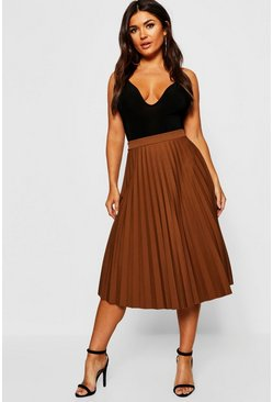 Womens Camel Pleated Midi Skirt
