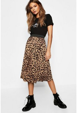Leopard Print Pleated Midi Skirt, Brown