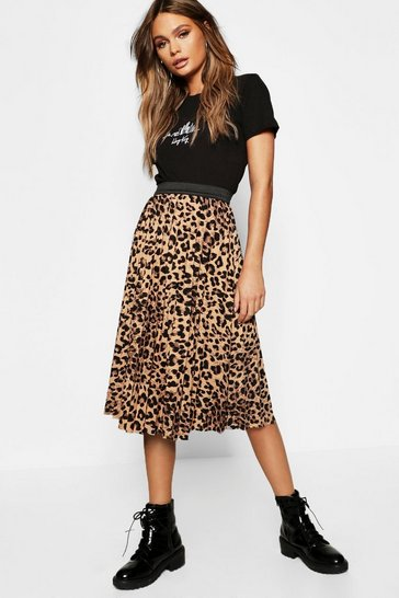 Womens Brown Leopard Print Pleated Midi Skirt