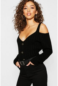 Black Gold Button Off The Shoulder Jumper