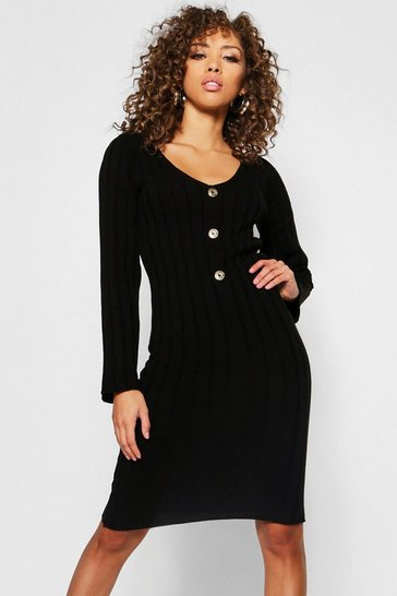 Womens Black Long Sleeve Knitted Midi Gold Button Dress
