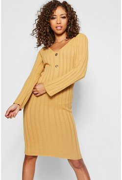 Womens Camel Long Sleeve Knitted Midi Gold Button Dress