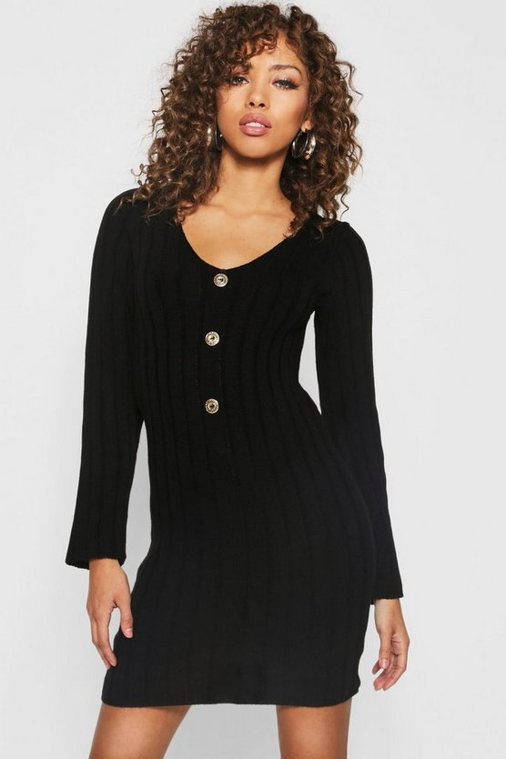 Womens Black Long Sleeve Rib Knit Gold Button Front Dress