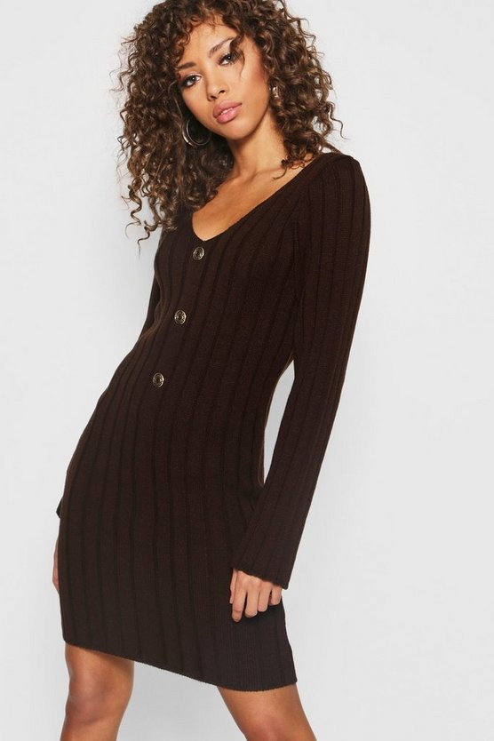 Womens Chocolate Long Sleeve Rib Knit Gold Button Front Dress