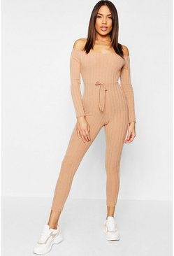 Womens Camel Rib Knit Bardot Lounge Jumpsuit