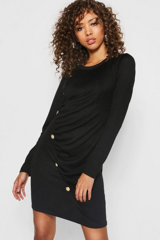 Gold Button Ruched Detail Knitted Dress