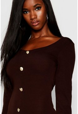Womens Chocolate Gold Button Knitted Long Sleeved Midi Dress