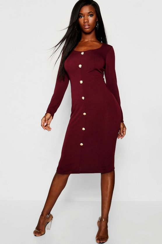 Gold Button Knitted Long Sleeved Midi Dress