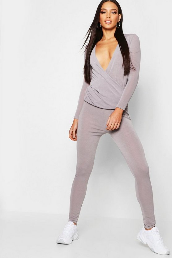 Womens Grey Knitted Wrap Front Lounge Set