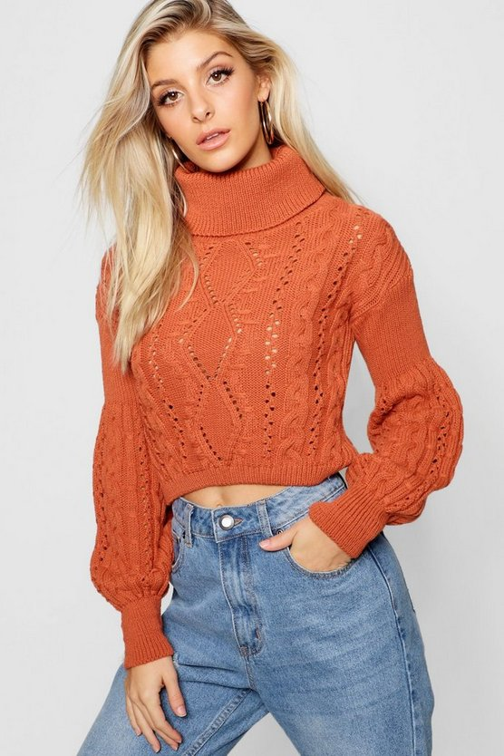 Womens Cinnamon Cropped Roll Neck Knitted Cable Jumper