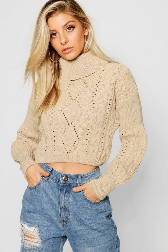 Cropped Roll Neck Knitted Cable Jumper
