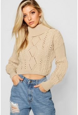 Womens Oatmeal Cropped Roll Neck Knitted Cable Jumper