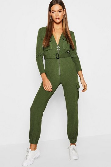 Womens Khaki Zip Front Knitted Utility Jumpsuit