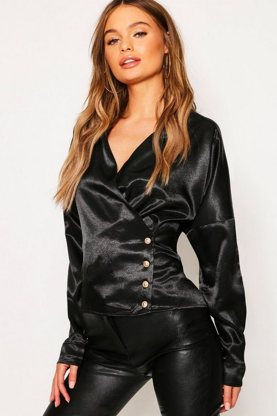 Womens Black Drape Front Wrap Satin Button Blouse