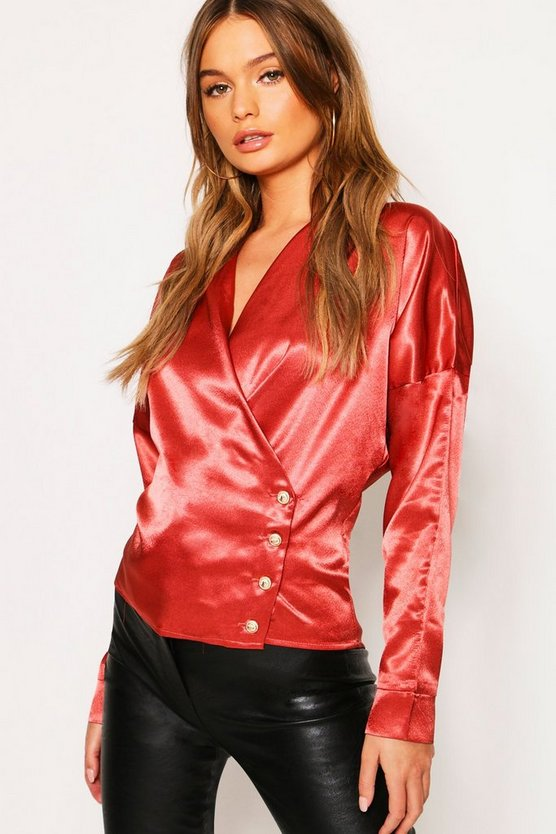 Womens Peach Drape Front Wrap Satin Button Blouse